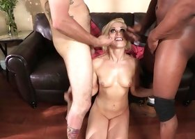 Ash Hollywood interracial threesome with hot facial cumshots