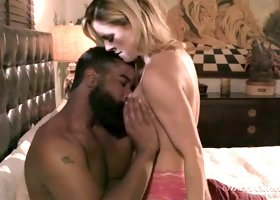 Blond haired lusty MILF Cherie DeVille had Stu oral scene with her black horny man in the darkness
