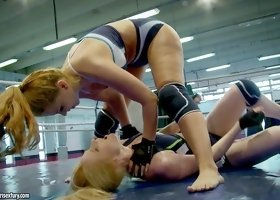 Hot women wrestle and finger fuck