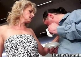 Hairy grandma cum soaked