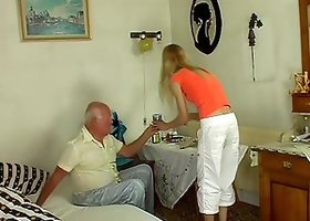 Fit blonde chick with a wicked tight body rides grandpa dick