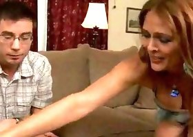 Helping her sons friend to relax with a blowjob