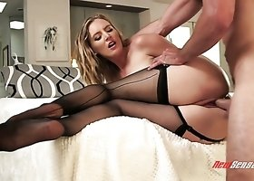 Pretty natural American cowgirl Mona Wales does her best while riding dick