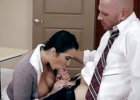 Bald math teacher seduces his big-boobed stud in the classroom