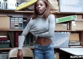 ebony shoplifting goes down on her knees and suck the lp officer