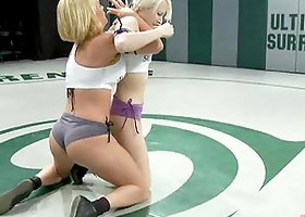 Two Sexy Blondes Fighting Hard for Domination