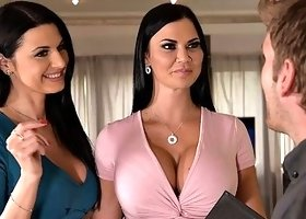 Two busty babes got their asses pounded in a threesome