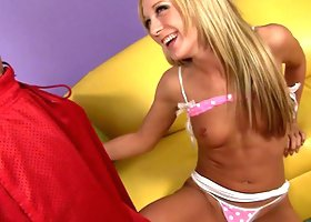 Amy Brooke groans in pleasure with her head pinned on the pillow while enduring a doggystyle