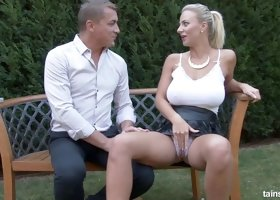 Sexy blonde Nataly Cherie and the backyard banging of her dreams