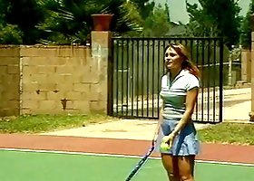 Dayton Rain the playful babe gets fucked on a tennis court