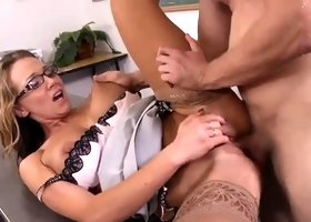Milf is acting in ejaculation adult video in office
