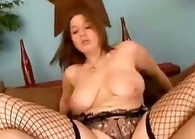 Curvaceous chick in fishnets gets her vagina destroyed