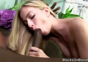 Long legged pale blond head Abigaile Johnson works on three massive BBCs