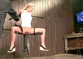Lecherous blonde Mason gets her vag toyed in hot BDSM clip
