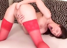 Wild solo for beauty in red lingerie