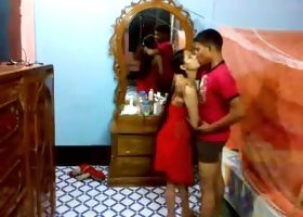 Sexy long haired brunette in red stuff sucks strong cock of her BF