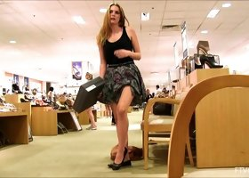 Shoe shopping beauty flashes her tits and panties in public
