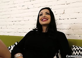 Stunning mommy Aletta Ocean chats with interviewer and expose sher body
