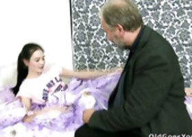 Attractive girl Katia enjoys getting her coochie polished by thirsty old guy with beard