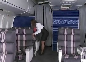 Big booty flight attendant getting fucked by a hung pilot