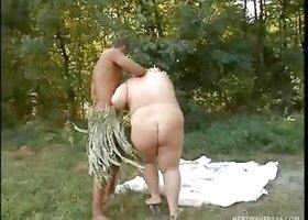 Black Dudes Fuck Fatty In Woods