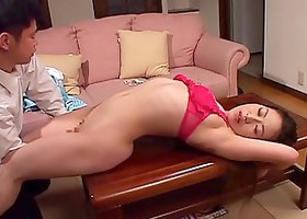 Older Japanese lady turns into a cock sucking submissive bimbo