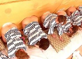 Guys watch as a group of bent over Japanese girls masturbates