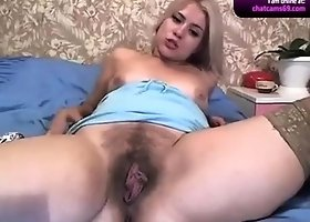 Busty blonde babe giselle solo toying