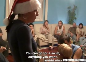 Orgy on Xmas party with cute amateur Czech teenagers