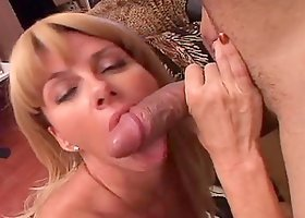 Busty blond milf seduces her son's friend and gets banged