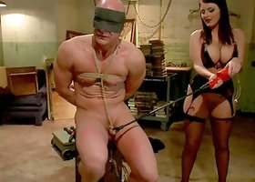 Sophie Dee Spanking Tied Up Dude's Butt Before Strapon Fucking Him