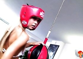 Sporty boxer Sabrina Blond slowly undresses during the training to go solo