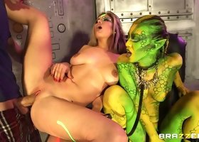 Fucking in outer space with a green alien joining them