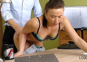 Babe fucked over office desk