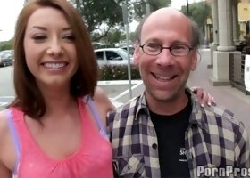 Amazing redhead skank getting hooked up with a wicked dude